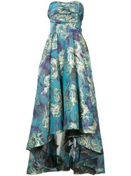 Marchesa Notte Floral Brocade Gown Women Acetate 0 Blue
