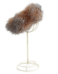 Surell Fox Fur Headband Crystal White