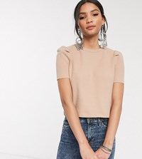 Bershka Puff Sleeve Top In Camel Beige