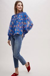 Anthropologie Arvid Shirred Floral Print Blouse Assorted