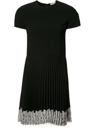 Red Valentino Lace Hem Pleated Dress Black
