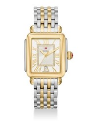 Michele Deco Madison Diamond And Two Tone Stainless Steel Bracelet Watch Gold
