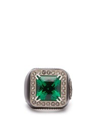 Gucci Crystal Embellished Signet Ring Green