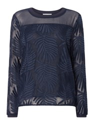 Second Female Lolila Long Sleeve Textured Sheer Blouse Blue