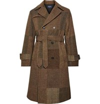 Noah Patchwork Double Breasted Wool Trench Coat Brown