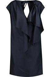 Nina Ricci Ruffled Silk Satin Mini Dress Midnight Blue
