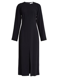Raey Long Sleeved Split Front Crepe Midi Dress Navy