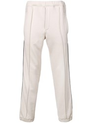 Fendi Ff Logo Stripe Track Trousers Neutrals