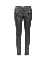 Morgan Coated Biker Slim Jeans Dark Grey