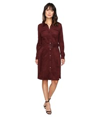 Nydj Allison Faux Suede Shirtdress Mahogany Wood Women's Dress Brown