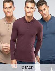 Asos 3 Pack Extreme Muscle Long Sleeve Polo Multi