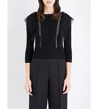 Valentino Wool And Lace Cardigan Blk