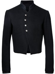 Aganovich Cropped High Collar Blazer Black
