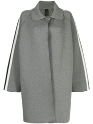 Norma Kamali Side Stripe Trench Coat Grey