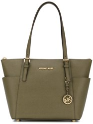 Michael Michael Kors Logo Plaque Tag Tote Women Leather One Size Green