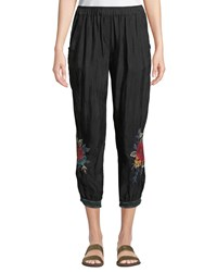 Johnny Was Vickie Floral Embroidered Jogger Pants Black