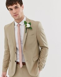 Only And Sons Slim Suit Jacket Beige