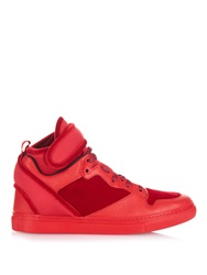 Balenciaga Velvet Multi Panel High Top Leather Trainers