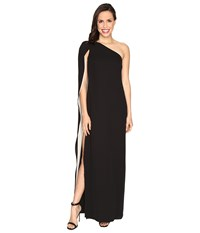 Halston One Shoulder Column Gown W Cape Black Champagne Women's Dress