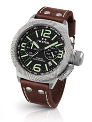 Tw Steel Canteen 45Mm Hammered Steel And Leather Strap Watch Dark Brown