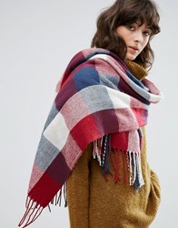 Pieces Blue Red And White Checked Blanket Scarf Multi