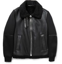 Givenchy Shearling Leather And Neoprene Jacket Black