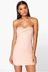 Boohoo Twist Front Ribbed Bodycon Dress Nude