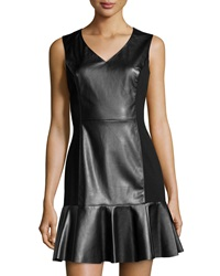 Vakko Faux Leather And Jersey Dress Black