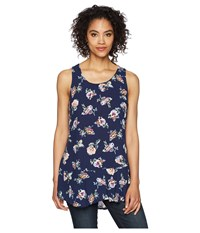Mod O Doc Printed Rayon Woven Scoop Neck Tank Top W Flounce Hem Navy Floral Sleeveless