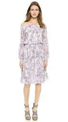 Marchesa Voyage Smocked Silk Peasant Dress Floral Camo