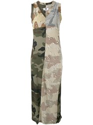 Maison Martin Margiela Mm6 Camouflage Print Maxi Dress Green