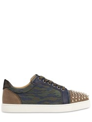 Christian Louboutin 20Mm Vieira Spiked Camouflage Sneakers Blue