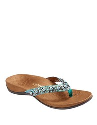 Vionic Floriana Leather Thong Sandals Teal Blue