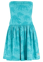 Superdry Palm Summer Jersey Dress Aqua Turquoise