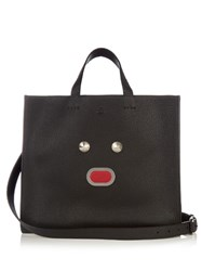Fendi Selleria Faces Leather Shopper Tote Black Multi