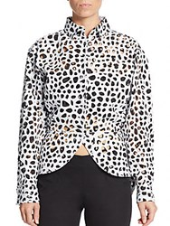 Azzedine Alaia Laser Cutout Top White Black