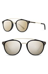 Shwood Men's Kinsrow 49Mm Acetate And Wood Sunglasses Black Gold Mirror Black Gold Mirror