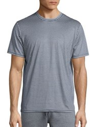 Saks Fifth Avenue Striped Crewneck T Shirt Denim White