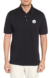Cutter And Buck Big Tall Pittsburgh Steelers Advantage Regular Fit Drytec Polo Black