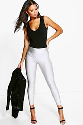 Boohoo Pocket Back High Waist Disco Leggings Silver