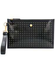 Versace Micro Studded Medusa Clutch Calf Leather Black