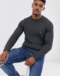 Farah Ludwig Cotton Cable Crew Neck Jumper In Charcoal Grey