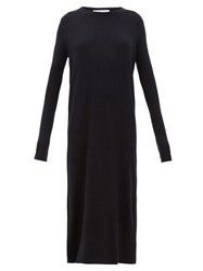 Raey Crew Neck Ribbed Cashmere Dress Navy