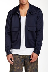 Shades Of Grey Neoprene Harrington Jacket Blue