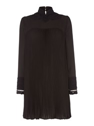 Biba Victoriana Pleated Lace Dress Black