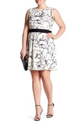 Taylor Printed Scuba Fit And Flare Dress Plus Size White
