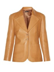 The Row Calixco Notch Lapel Leather Jacket Tan
