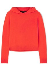 The Elder Statesman Cropped Cashmere Hoodie Red