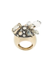 Lanvin Crystal Embellished Chunky Ring Metallic