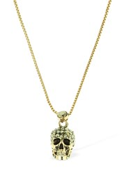 Alexander Mcqueen Pave Skull Necklace Gold